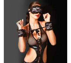 KINK HANDCUFFS AND BLINDFOLD BLACK AND PINK