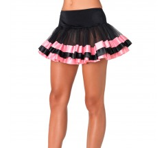 BLACK TULLE SKIRT WITH SATIN DETAILS PINK
