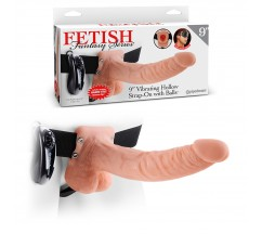 "9"" HOLLOW VIBRATING STRAP-ON FETISH FANTASY SERIES WHITE"