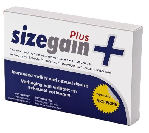 SizeGain Plus (30 cápsulas) - Aumentar tamanho do pénis até 7cm de longo e 25% de grossura
