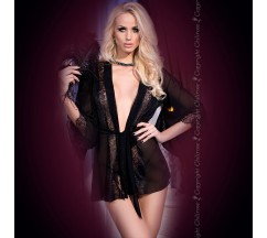 ROBE AND THONG CR-4113 BLACK