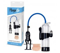 FINGER TOUCH SENSE VIBRATING PENIS PUMP WITH STROKER CLEAR