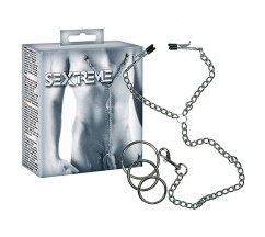 SEXTREME CHAIN WITH NIPPLE CLAMPS AND COCKRINGS