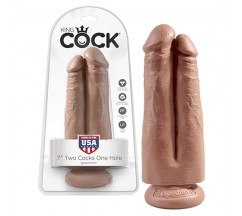 "KING COCK 7"" TWO COCKS ONE HOLE REALISTIC DILDO LATINO"