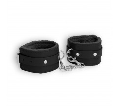 OUCH! PLUSH LEATHER WRIST CUFFS BLACK
