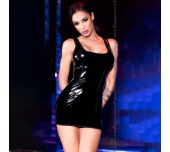 WETLOOK EFFECT DRESS CR-4276 BLACK