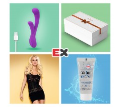 GIFT BOX WITH PURPLE ORCHID RECHARGEABLE VIBRATOR AND OFFER OF D307 DRESS S/M + JUST GLIDE LUBRICANT 20ML