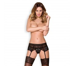 OBSESSIVE 853-GAR GARTERBELT AND THONG BLACK
