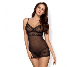 OBSESSIVE 817-CHE CHEMISE AND THONG BLACK