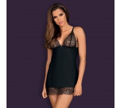 OBSESSIVE CHICCANTA CHEMISE AND THONG BLACK