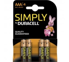 BATERIA DURACELL SIMPLESMENTE ALCALINA AAA LR03 / MN2400 4UD