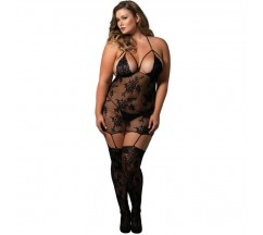 LEG AVENUE STRAPPY SUSPENDER BODYSTOCKING BLACK