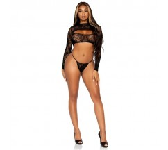 LEG AVENUE LACE CROP TOP AND G-STRING ONE SIZE