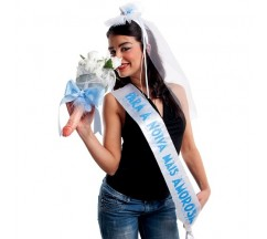 """PARTY BAND, VEIL AND BOUQUET """"FOR THE CUTEST BRIDE"""" IN PORTUGUESE"""