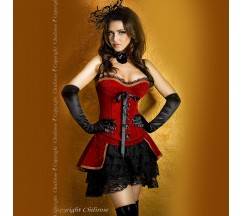 CORSET WITH SKIRT AND THONG CR-3317