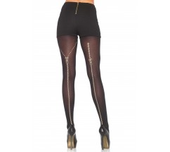 METALLIC ZIPPER PANTYHOSE